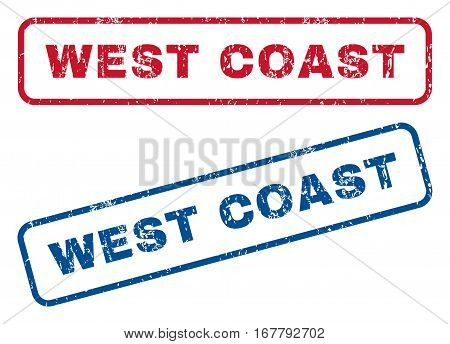 West Coast text rubber seal stamp watermarks. Vector style is blue and red ink tag inside rounded rectangular shape. Grunge design and dust texture. Blue and red signs.