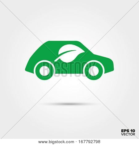 Green car with leaf symbol Icon. Eco-friendly low emission vehicle. EPS 10 Vector.
