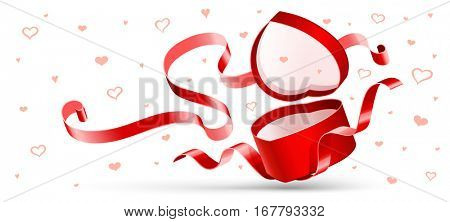 Open gift with red ribbon isolated on white. Vector illustration