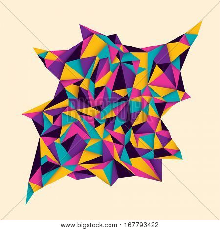 Modish style abstract polygon object made of colorful geometric shapes. Vector illustration.