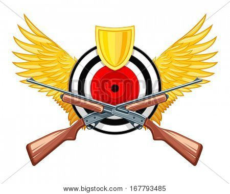 Hunting symbol of round target with wings and riffle guns weaponry logo vector illustration. Armory weapons isolated on white background. Sports leisure concept equipment for shooting