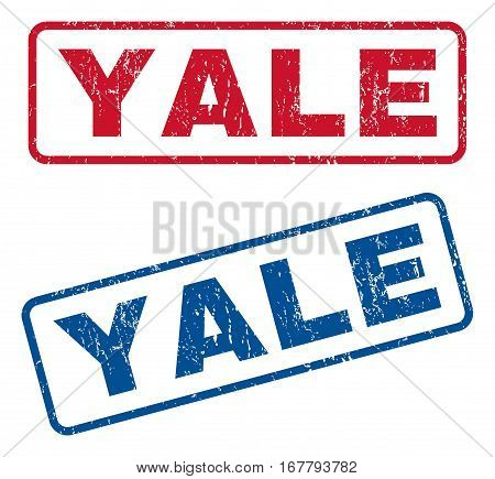 Yale text rubber seal stamp watermarks. Vector style is blue and red ink caption inside rounded rectangular banner. Grunge design and unclean texture. Blue and red emblems.