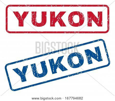 Yukon text rubber seal stamp watermarks. Vector style is blue and red ink tag inside rounded rectangular banner. Grunge design and unclean texture. Blue and red stickers.