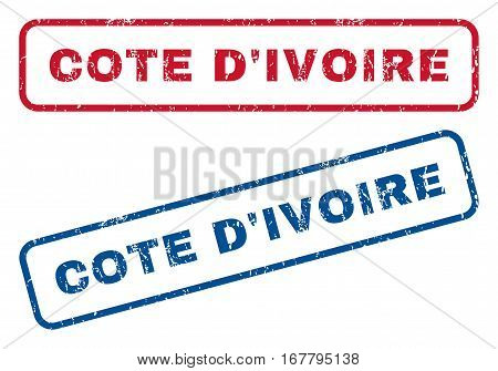 Cote D'Ivoire text rubber seal stamp watermarks. Vector style is blue and red ink caption inside rounded rectangular shape. Grunge design and dirty texture. Blue and red stickers.