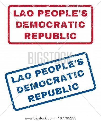 Lao People'S Democratic Republic text rubber seal stamp watermarks. Vector style is blue and red ink tag inside rounded rectangular banner. Grunge design and unclean texture. Blue and red stickers.