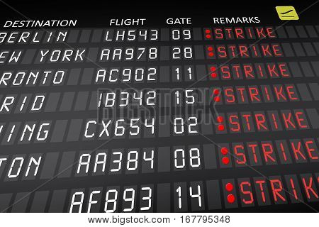 Airplane pilots strike displayed on airport panel
