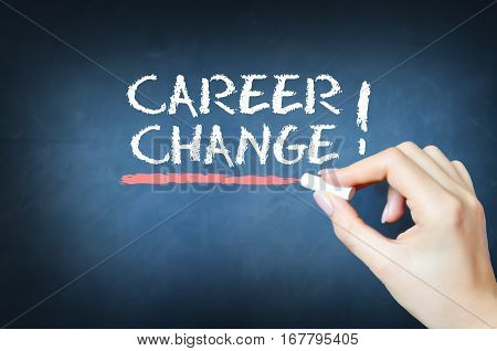 Career change handwritten text on blackboard or chalkboard