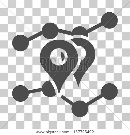 Geo Markers Trends icon. Vector illustration style is flat iconic symbol, gray color, transparent background. Designed for web and software interfaces.