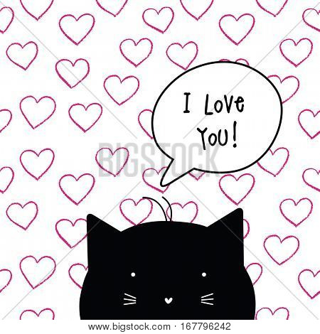 Valentine's card with copy space. I love you. Cat character. Template. Graphic design element. Seamless pattern included.