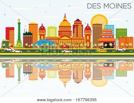 Des Moines Skyline with Color Buildings, Blue Sky and Reflections. Vector Illustration. Business Travel and Tourism Concept. Image for Presentation Banner Placard and Web Site.