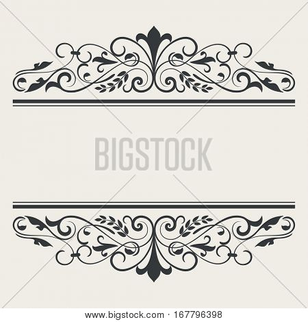 Vintage book or card title borders vector template.