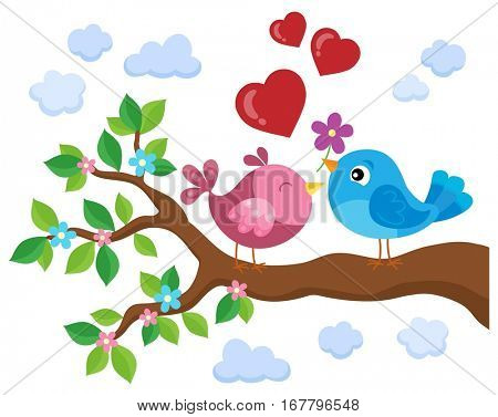 Valentine birds on branch theme 1 - eps10 vector illustration.