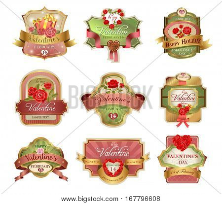 Labels for Valentines Day in elegant retro style.