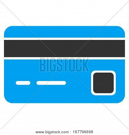 Bank Card vector pictograph. Illustration style is a flat iconic bicolor blue and gray symbol on white background.