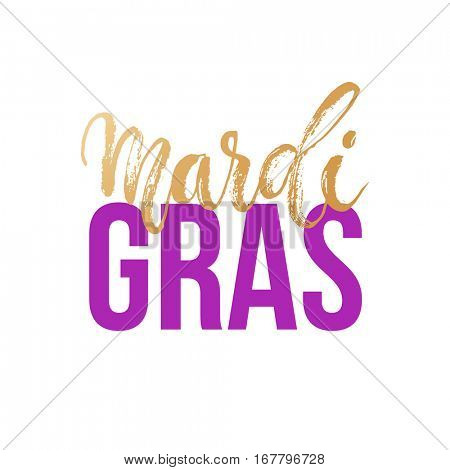 Mardi Gras carnival gold glitter vector text card for Shrove Tuesday mask festival masquerade