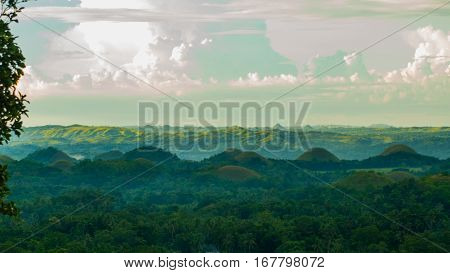 Colorful evening at the chocolate hills, Bohol, Philippines