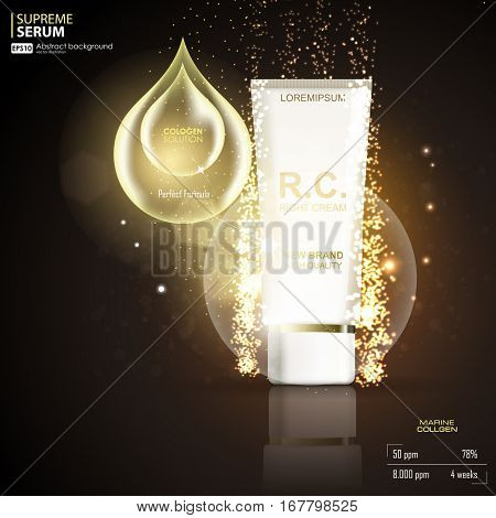 Moisturizing cosmetic ads template. 3D illustration cosmetic mockup on bokeh background. Cream ads, makeup tube template with sparkling effect.