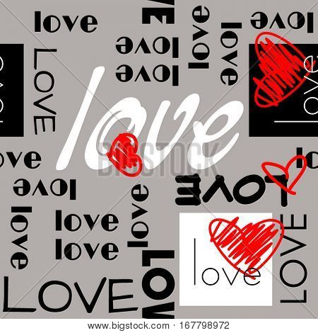 art vintage letter pattern background for Valentine day with word love in grey, black, white and red colors