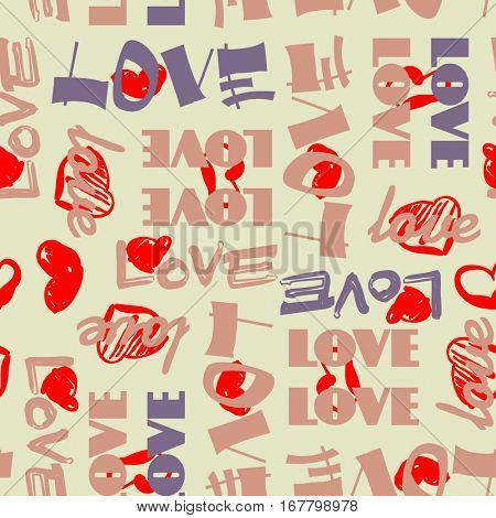 art vintage letter pattern background for Valentine day with word love in beige, rose, lilac and red colors