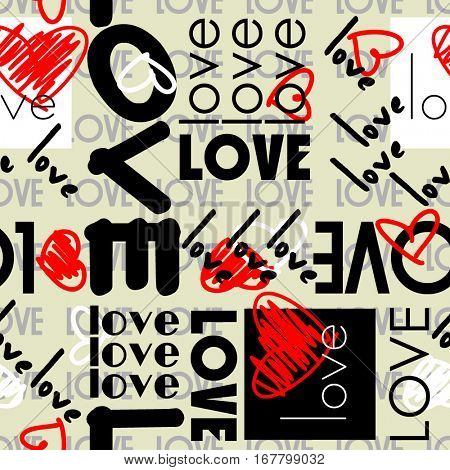 art vintage letter pattern background for Valentine day with word love in black, white and red colors