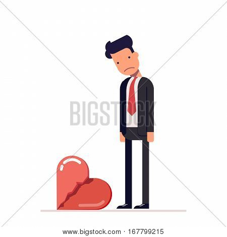 Broken heart. Sad man in a business suit. Divorce in the family. The loss of his beloved. Dead love. Cartoon character in flat style isolated on white background. Vector, illustration EPS10