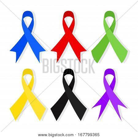 Various Colorful Awareness Ribbons. Vector Illustration. EPS 10