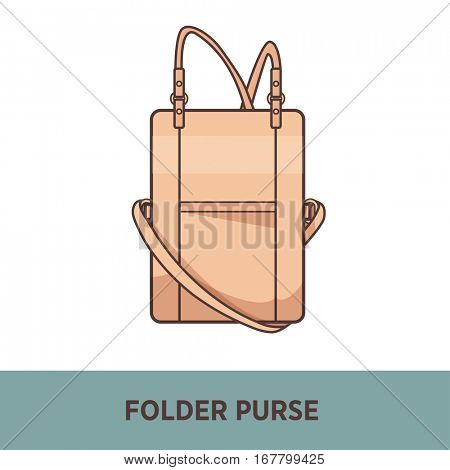 Modern fashion bag female accessory. Fashionable and trendy handbag. Illustration isolated on white. Design element in flat style