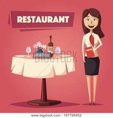 Reserved table in restaurant. Cartoon vector illustration. Dinner date. Hostess in cafe. Food and drink theme. Romantic evening.