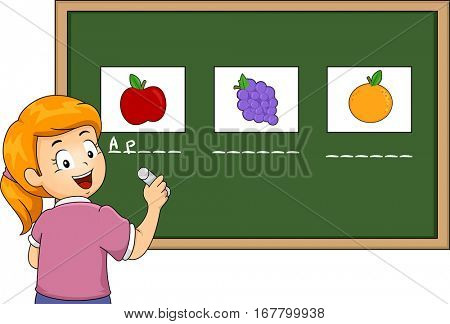 Illustration of a Preschool Girl Matching the Names of Fruits  on the Board With Their Corresponding Pictures
