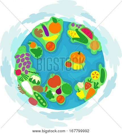 Colorful Illustration Featuring a Globe Decorated with Nutritious Food and Vegetables