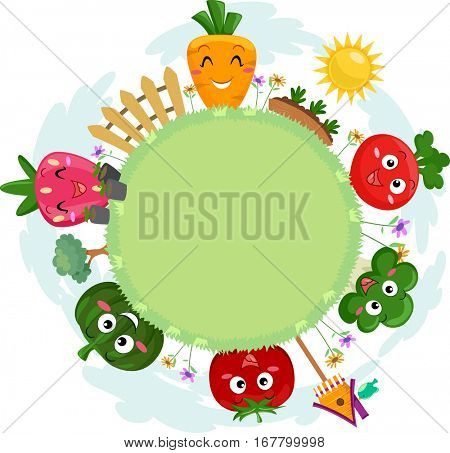 Colorful Illustration Featuring a Circular Patch of Grass Surrounded by Smiling Fruit and Vegetable Mascots