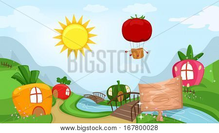 Whimsical Illustration Featuring a Community Filled with Houses Shaped Like Fruits and Vegetables