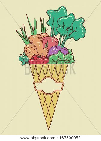 Illustration Featuring a Wrapped Cone Brimming with Freshly Harvested Vegetables