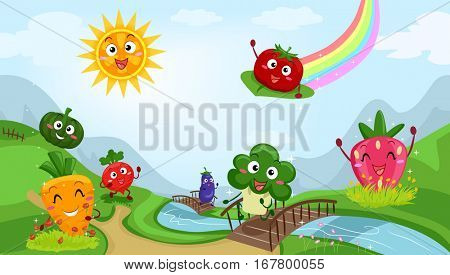 Colorful Illustration Featuring Fruit and Vegetable Mascots Playing Happily by a Stream