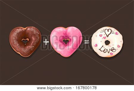 Horizontal greeting card with glazed Donuts and doodle text. Vector abstract illustration with love for Valentine's day.