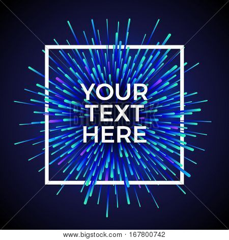 Vector light explosion. White frame on cosmic background. Text placeholder. Beautiful magic backdrop for your poster or web design.