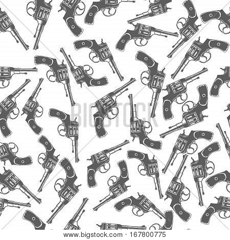 Hand Drawn Revolver Gun Seamless Pattern Vector illustration