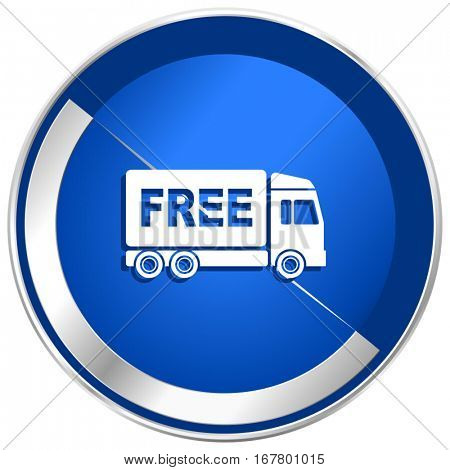 Free delivery silver metallic web and mobile phone vector icon in eps 10.