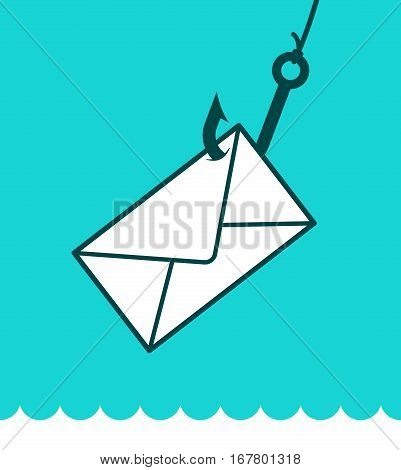 Phishing mail concept with an envelope caught on a fishing hook over a blue background and lapping water in a play on words eps8 vector illustration