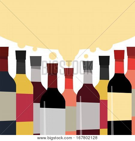 A collection of delicious wines. Bottles of alcoholic beverage. Vector illustration for design shop.