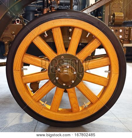 Very Old Wooden Wheel For Oldtimer Truck