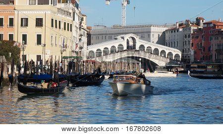 Rialto Bridge With Tourists
