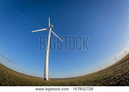 A fish-eye lens captures this wind turbine top to bottom as well as other turbines along the distorted horizon.