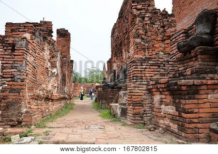 AYUTTHAYA THAILAND - JAN 20 2016: Scenic view of the towering prang of Wat Phra Ram. Built in 1369 on the site of the first Ayutthaya king cremation.