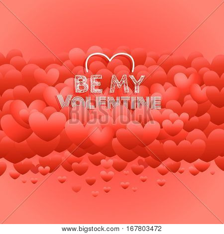 Happy valentines day greeting card with red hearts. I love you