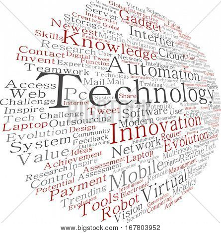 Vector concept or conceptual digital smart technology, media word cloud isolated on background metaphor to information, innovation, internet, future, development, research, evolution or intelligence