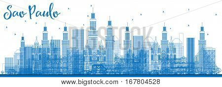 Outline Sao Paulo Skyline with Blue Buildings. Vector Illustration. Business Travel and Tourism Concept with Modern Buildings. Image for Presentation Banner Placard and Web Site.