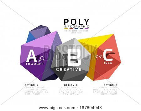 Moden low poly infographics template with A B C letters