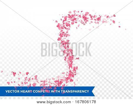 Pink hearts trace or vector wedding love comet trace confetti trail transparent background.