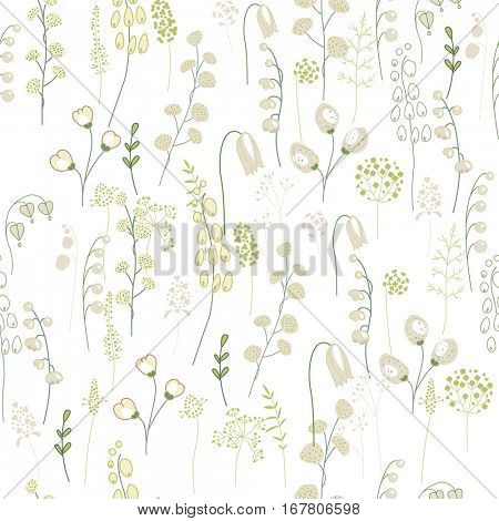 Seamless floral pattern with green twigs. Endless texture for your design, greeting cards, announcements, posters.